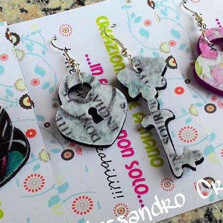 """Orecchini in feltro decorato Stampa serie """"Chiave e lucchetto"""""""