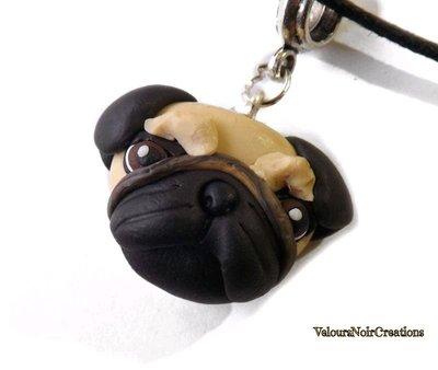 Collana con ciondolo cane carlino creato a mano in fimo
