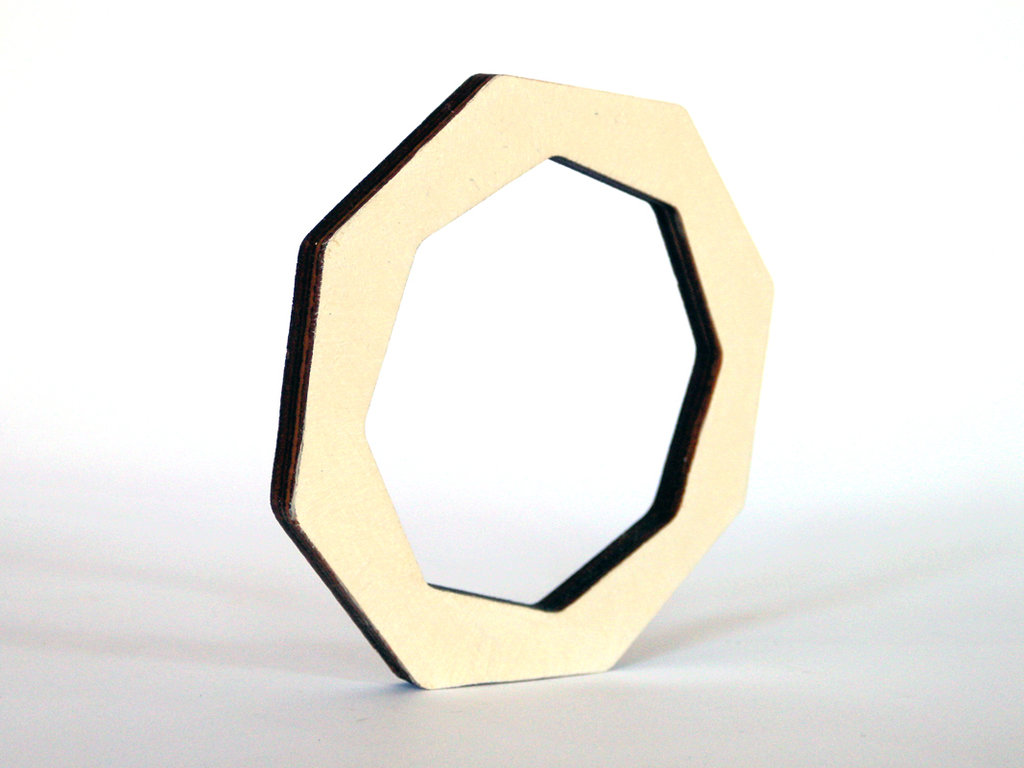 Riny, bracciale geometrico in legno versione ottagono personalizzabile in 6 colori