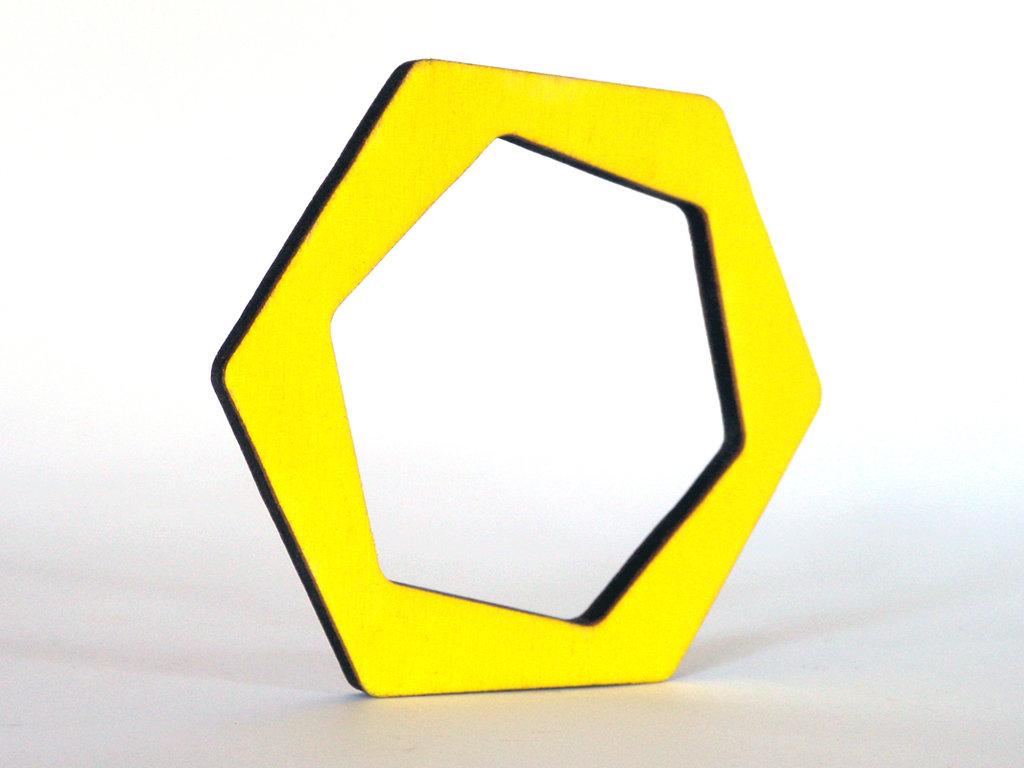 Riny, bracciale geometrico in legno versione esagono personalizzabile in 6 colori