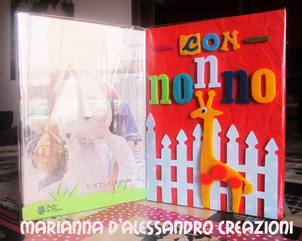 """Portafoto da appoggio """"Con Nonno"""", in plexiglass decorato"""