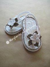 Scarpine sandali infradito  bambina in puro cotone fatti a mano all'uncinetto