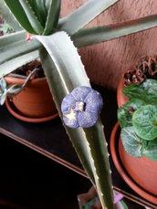 Anello Fiore Ume blu shiny