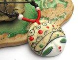 Collana artigianale pendente ciondolo in Ceramica dipinto a mano Estiva con laccio cerato allungabile