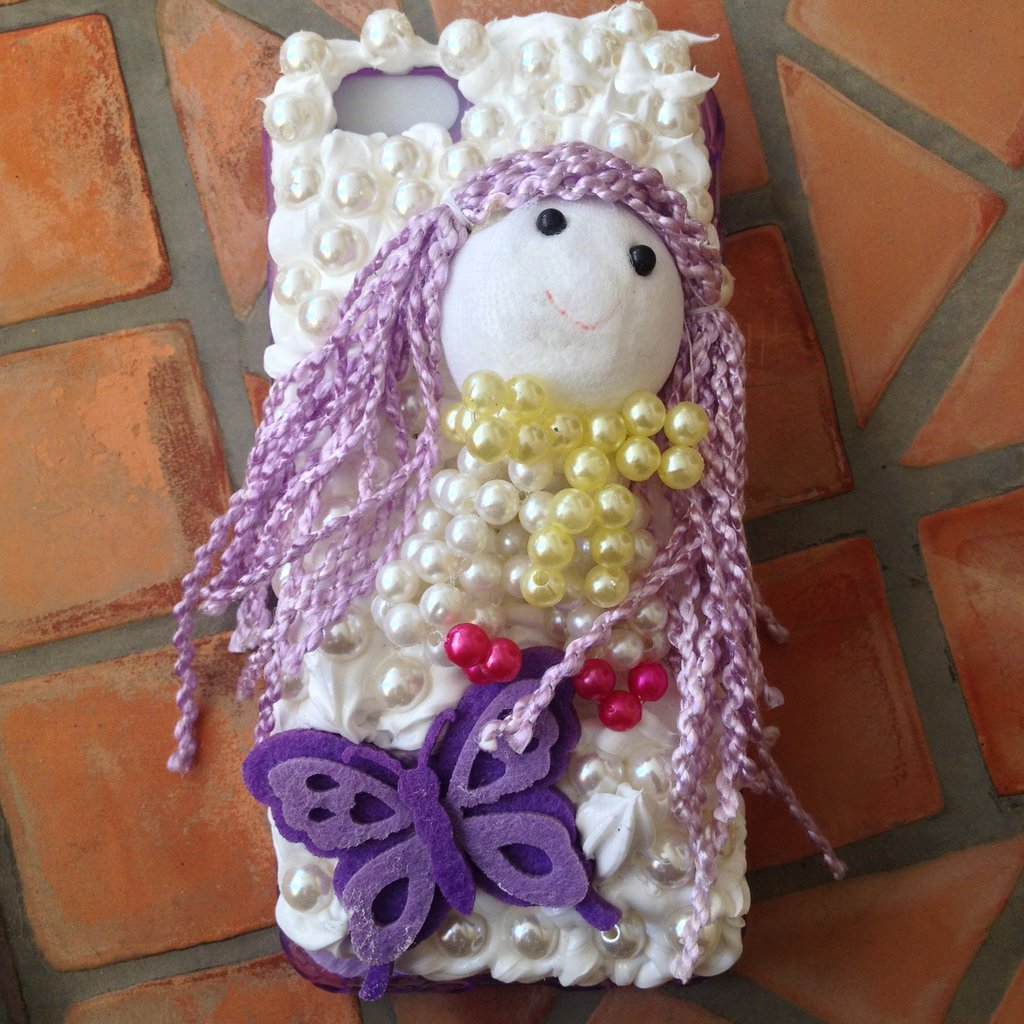 COVER KAWAII DECO DEN PER IPHONE 6 CON PANNA E CABOCHONS
