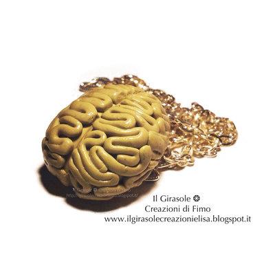 Collana cervello realistico anatomico in  fimo