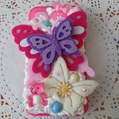 Cover KAWAII deco den per iPhone 4 4s con panna e cabochones