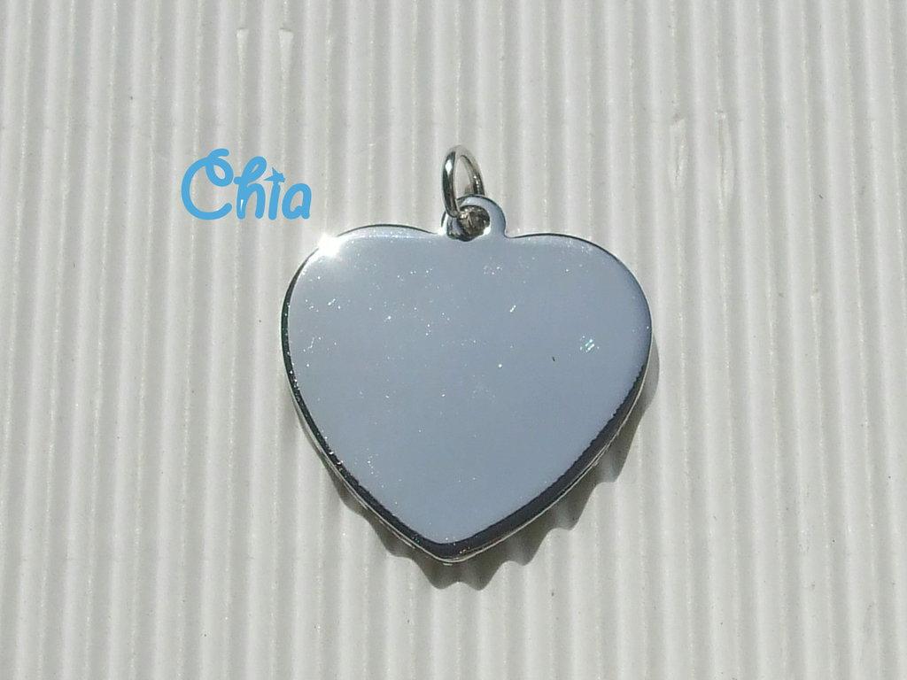 1 charm cuore piatto 29x30mm