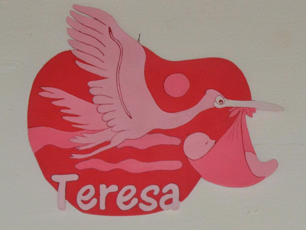 "Fiocco  Cicogna per nascita "" Teresa"""