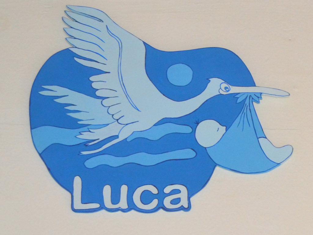 """Fiocco  Cicogna per nascita """" Luca"""""""