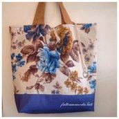 Capiente borsa in cotone a fiori sui toni azzurri/blu/marroni