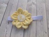 Fascia per capelli Fiore Giallo personalizzata con iniziale - Bimba