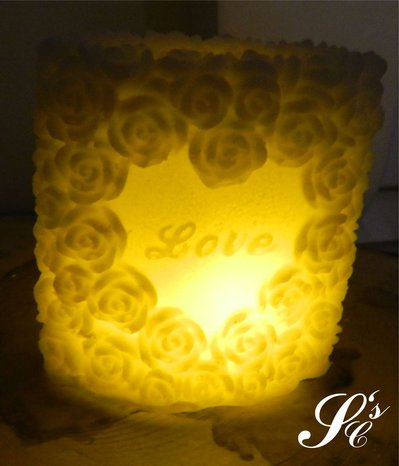 Candela in cera con LED - LED029 Love