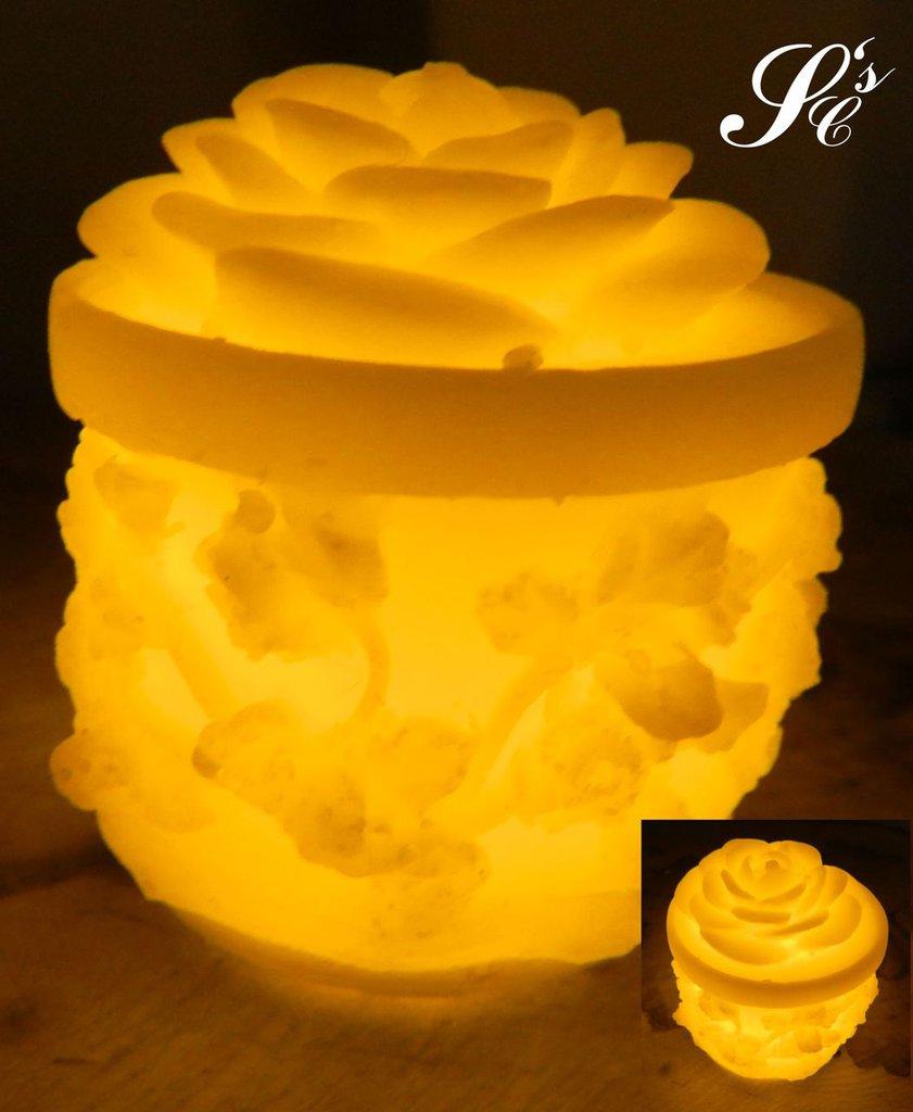 Candela in cera con LED - LED030 Rosa su tronchetto
