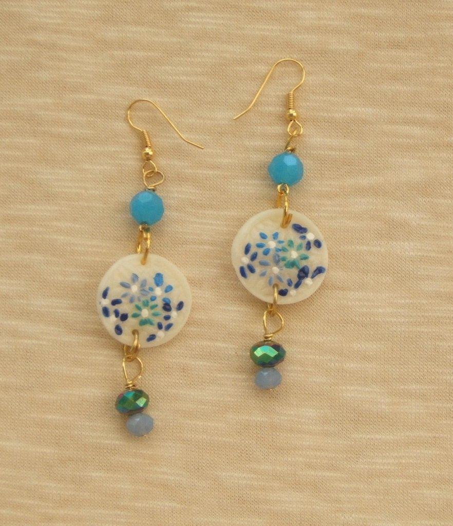 Orecchini  azzurro e verde iridescente