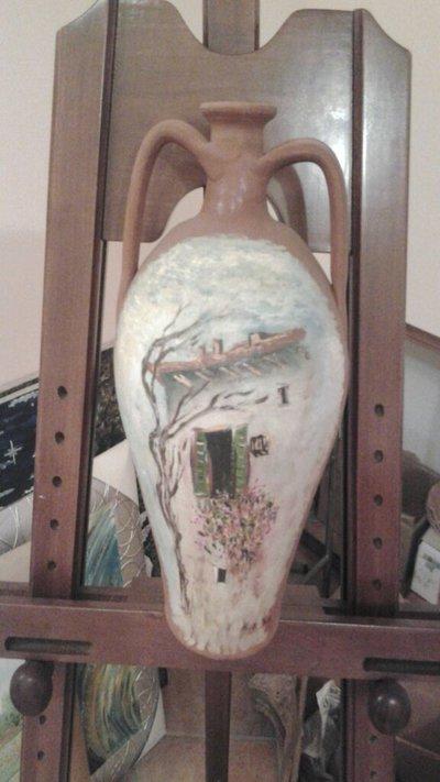 vaso dipinto a mano con tecnica olio su tela