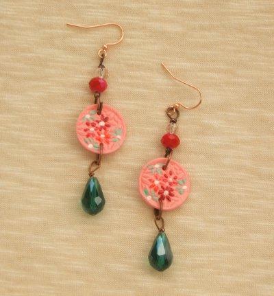 Orecchini  rosa e verdi