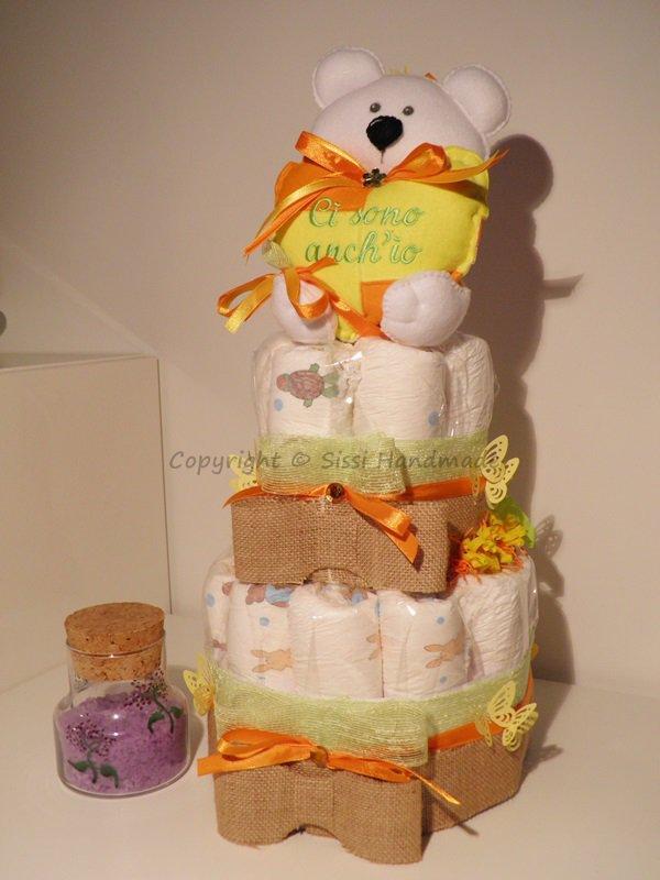 Torta (x22) pannolini con orsetto in pannolenci