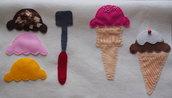 La gelateria è aperta.Coni gelato!Pochette portabiancheria.Due scomparti.Feltro.Fatta a mano