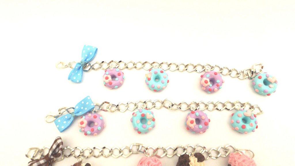 INSERZIONE RISERVATA per SHERIN - 6 braccialetti FIMO con donuts - cupcakes e gelati