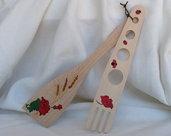 DOSA SPAGHETTI E SPATOLA in legno, dipinti a mano.