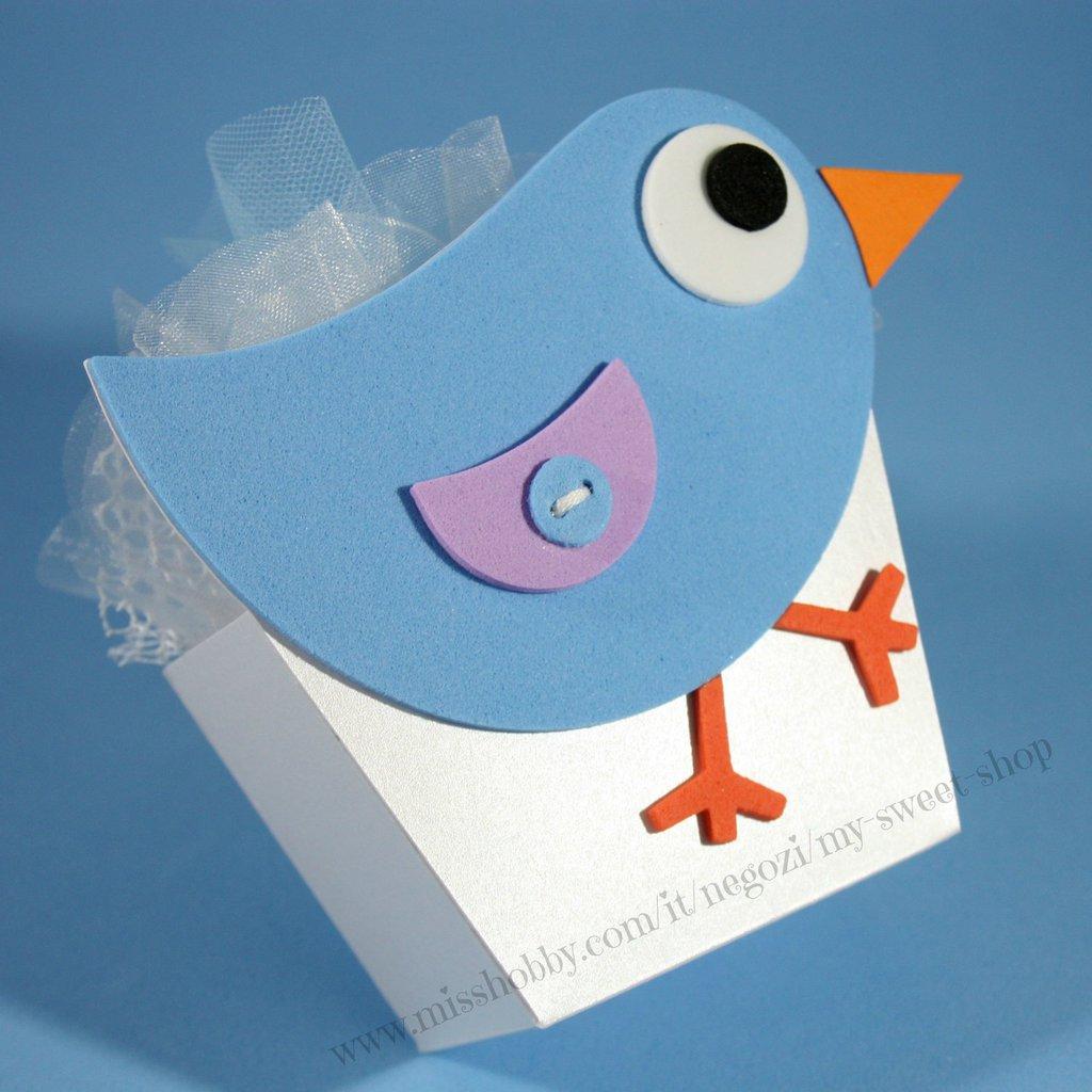 Scatola bomboniera porta confetti con uccellino