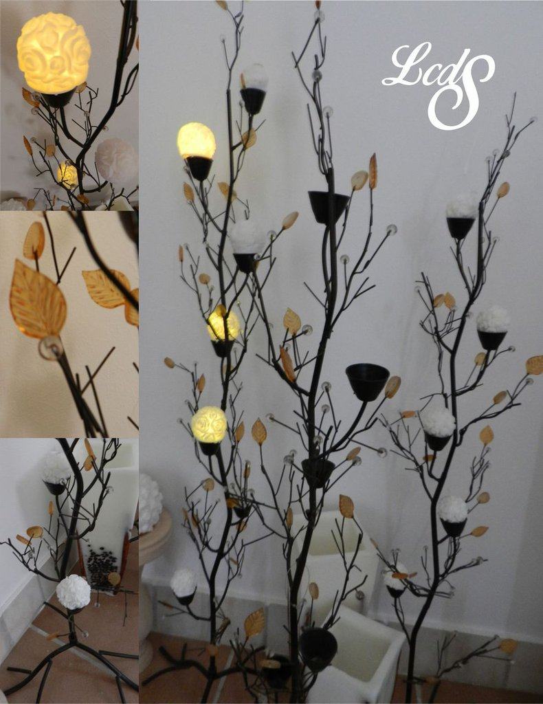 Porta candele in ferro con foglie di vetro