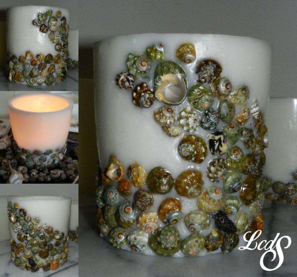 Lanterna artigianale in cera  con conchiglie - Wax luminary seashells