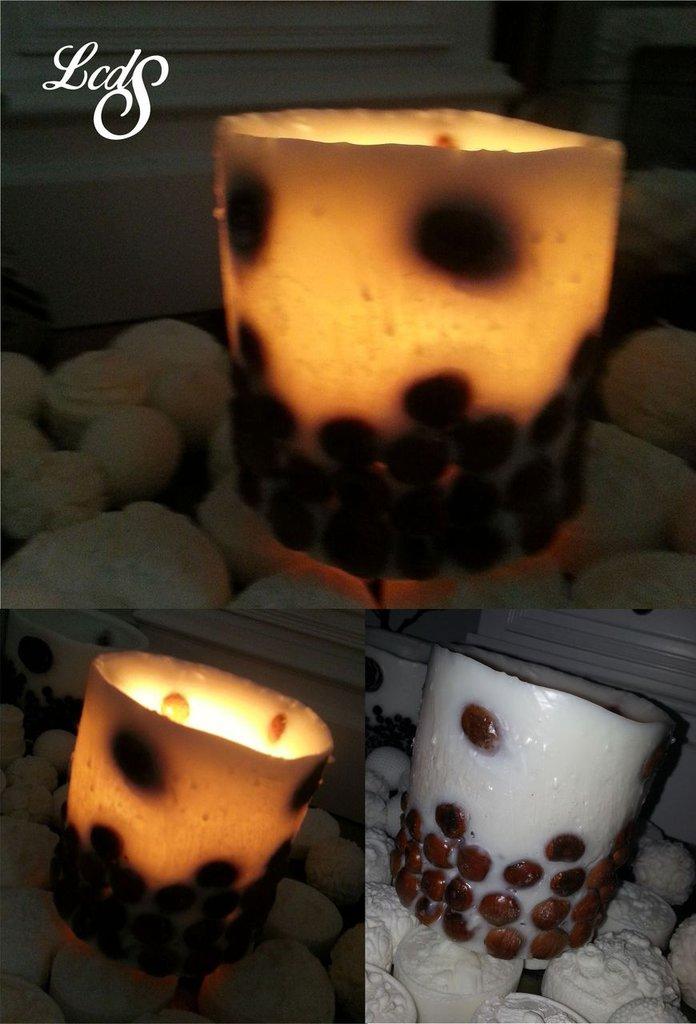 Lanterna in cera con nocciole - Wax Luminary