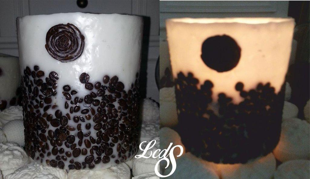 Lanterna in cera vintage caffe -Wax  Luminary  - caffe