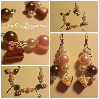 Bracciale con perline marroni e rosa e fettine di torta in fimo con orecchini abbinati