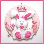 """Fiocco di nascita """"Coniglietta Rosa di Pasqua"""""""
