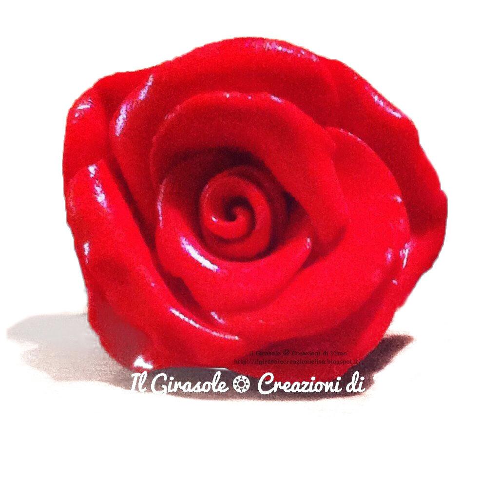 Anello Rosa Rossa in Fimo regolabile