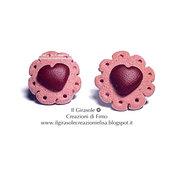 Orecchini biscotto e cuore di cioccolato in pasta polimerica fimo