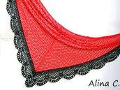 """Pareo Scialle crochet """"Flamenco"""" in cotone rosso, con bordo nero in viscosa  e paillettes argento, con fermaglio pizzo e raso"""