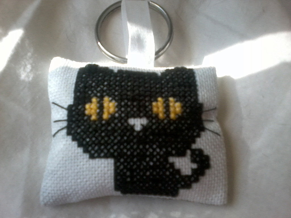 Portachiavi kawaii black cat