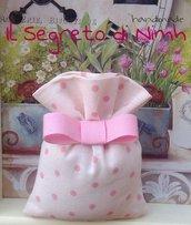 Sacchettino SHABBY pois rosa su fondo panna