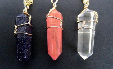 CIONDOLO - SET 3 ciondoli  COLLANE cristallo   Avvolti in una Catena di Oro Placcato  Quarzo Rosa ,  Quarzo Bianco e Goldstone  Agata Pietre Naturali
