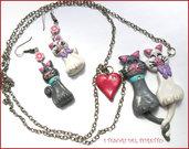 """Parure  """"Mici innamorati"""" Collana e orecchini gatti gattini fimo cernit idea regalo per lei donna bambina Natale"""