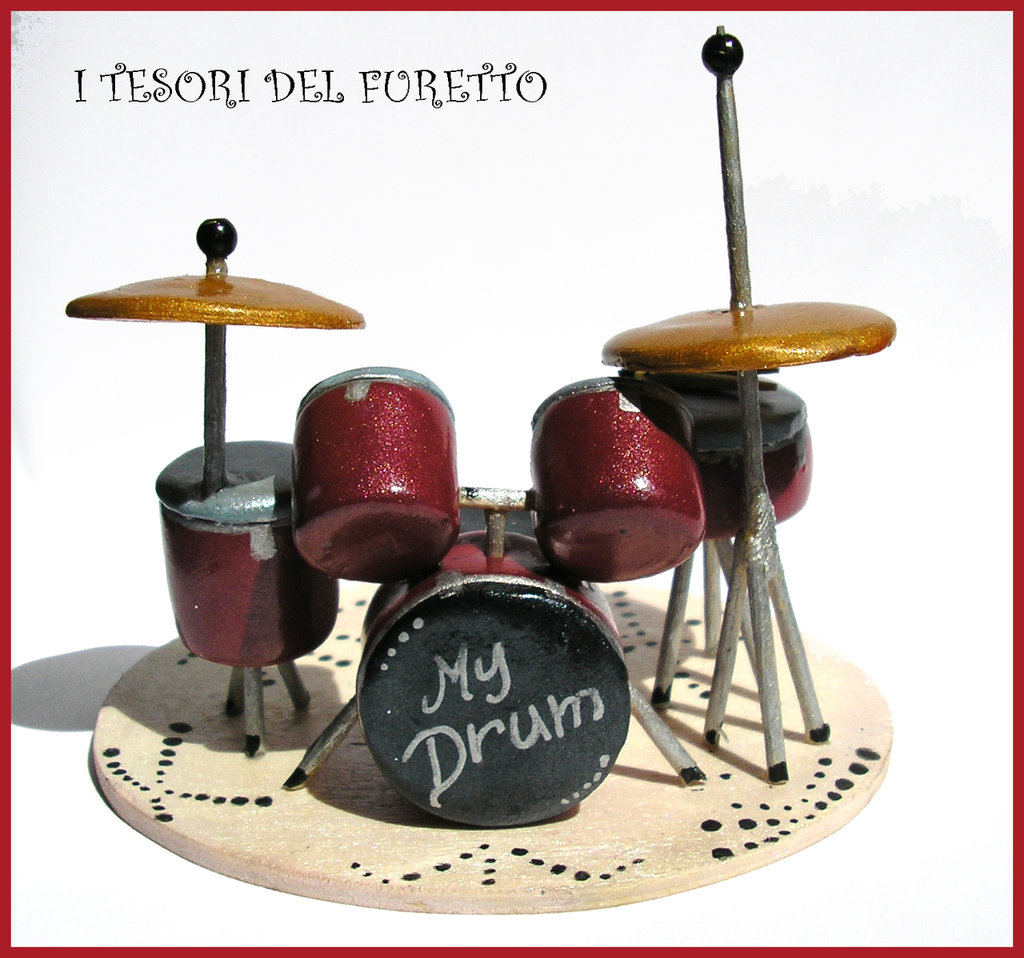 "Cake topper Miniatura ""Batteria acustica"" fimo cernit kawaii idea regalo bambino"