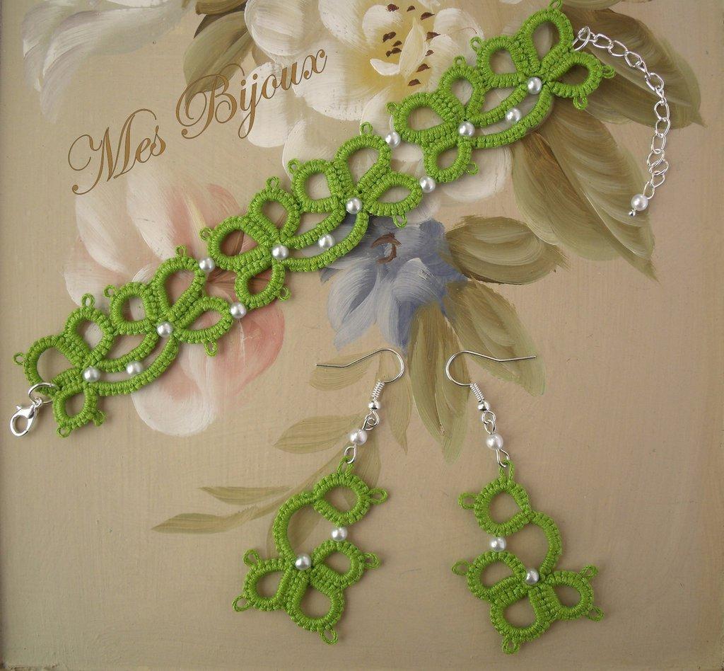 Bracciale e orecchini fiore verde  moda chiacchierino idea regalo donna ragazza