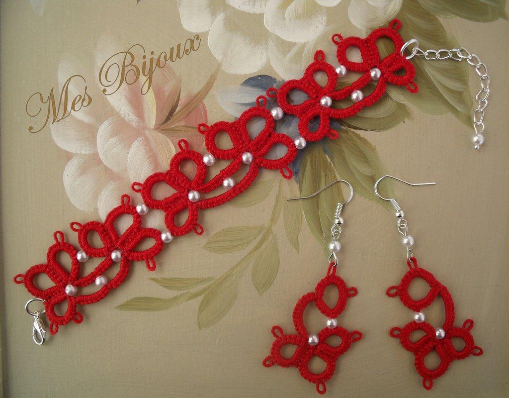 Bracciale e orecchini fiore rosso moda chiacchierino idea regalo donna ragazza
