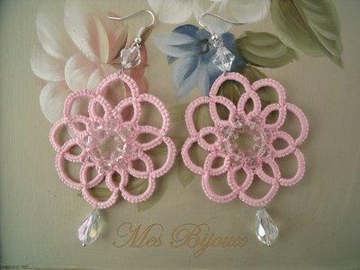Orecchini moda uncinetto chiacchierino rosa  idea regalo donna ragazza