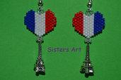 """Orecchini """"Cuore di Francia"""" con pendente realizzato con perline Miyuki delica"""