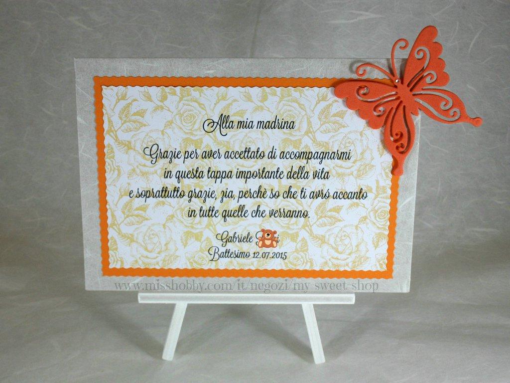 Cavalletto con targhetta decoro farfalla - regalo bomboniera madrina padrino Battesimo