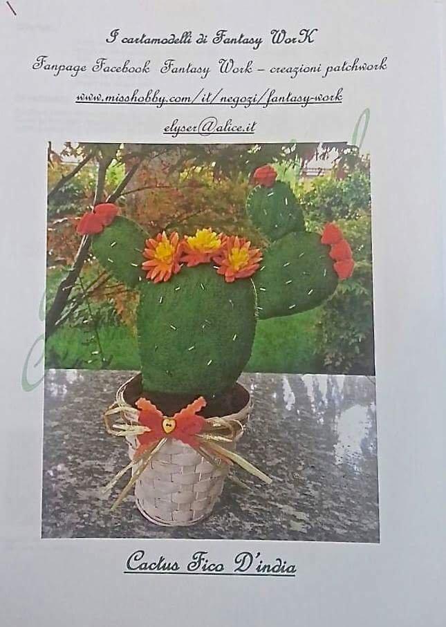 cartamodello PDF tutorial cactus fico d'india in feltro scaricabile in pdf