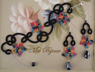 Bracciale e orecchini fiore multicolor moda chiacchierino idea regalo donna ragazza