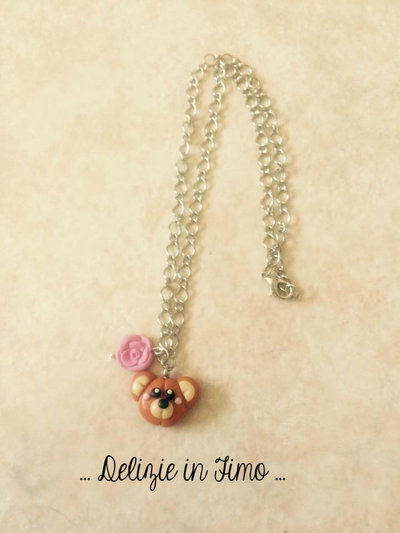 Collana Catenina con Orsetto  in Fimo  Chain necklace with Bear polymer clay