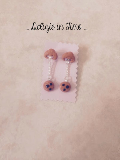 Coppia Orecchini a Biscottino in fimo  Pair Earrings Cookie polymer clay