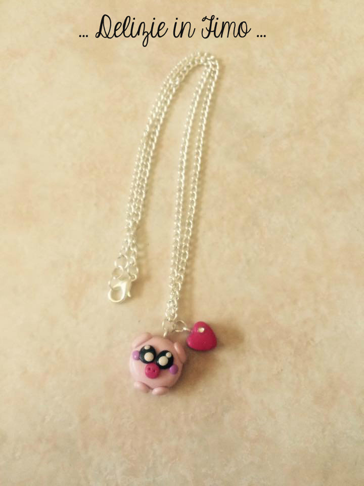 collana con maialino e cuore in fimo  necklace with polymer clay pig and heart